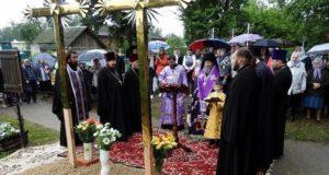 Преосвященнейший епископ Елецкий и Лебедянский Максим совершил чин освящения накупольных крестов для восстанавливающегося Успенского храма в городе Чаплыгине